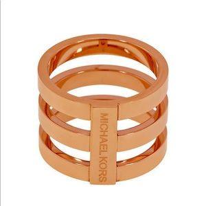NWT Michael Kors Rose Gold Triple Stack Ring 8